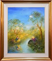 Sale 9015J - Lot 6 - David Boyd - Playing by the Stream 75x60cm
