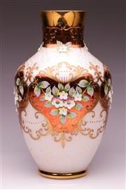 Sale 9081 - Lot 35 - A Bohemian Cream Glass Vase with Gilt and Floral Enamelled Decorations (H31cm)