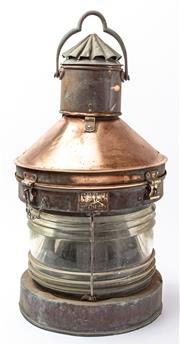 Sale 9083N - Lot 70 - A Large copper ships lantern by Meteorite. Height 66cm