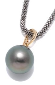 Sale 9083 - Lot 436 - A 9CT GOLD TAHITIAN PEARL ENHANCER; 16.3mm round fine cultured pearl with good lustre and colour (some spots to the back) on an hing...