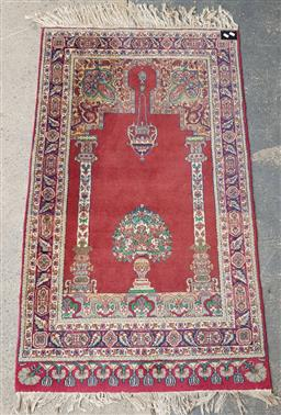 Sale 9102 - Lot 1152 - Red and blue tone pictorial woollen rug (154 x cm)
