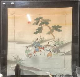 Sale 9106 - Lot 2121 - Silk stitching of warriors in Perspex frame, dated Hong Kong jockey club 1988