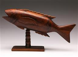 Sale 9119 - Lot 43 - A carved flying fish on stand from Pitcan Island (W:42cm) together with a PNG mask (L:70cm)