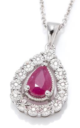 Sale 9164J - Lot 484 - A SILVER RUBY AND DIAMOND PENDANT NECKLACE; drop shape pendant centring a pear cut ruby of approx. 0.90ct to surround of 14 illusion...