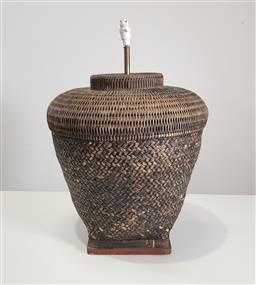 Sale 9255 - Lot 1276 - Large Wicker Base Table Lamp (shade faulty)