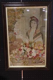 Sale 8050B - Lot 4 - A 19th-century framed tapestry panel of the flower girl, in Rosewood frame