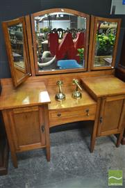 Sale 8277 - Lot 1012 - Mirrored Wingback Dresser with Two Doors & Single Drawer