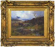 Sale 8334 - Lot 592 - Russell MacNee (1880 - 1952) - Highland Cattle 34 x 44.5cm