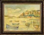 Sale 8408 - Lot 567 - Attributed Robert Richmond Campbell (1902 - 1972) - Moored Boats, Neutral Bay, Sydney Harbour 32.5 x 44cm