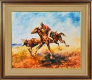 Sale 8401 - Lot 563 - Hugh Sawrey (1919 - 1999) - Heading the Piker, Channel Country, West Queensland 49.5 x 59.5cm