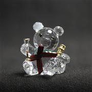 Sale 8412B - Lot 10 - Swarovski Crystal Bear Holding Bottle & Glass with Box - Height 4cm