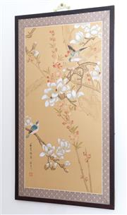 Sale 8515A - Lot 43 - A pair of Oriental works on paper depicting birds amidst prunis, signed lower left & lower right, each frame size 90 x 48cm