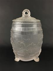 Sale 8545N - Lot 201 - Lalique Style Frosted Glass Lidded Biscuit Barrel (H: 31cm)