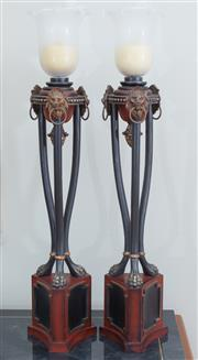 Sale 8562A - Lot 42 - A pair of empire style torcheres with frosted tulip shades, lion mask and ring handles, pineapple finials on tripod paw feet, total...