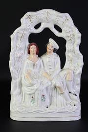 Sale 8923B - Lot 61 - A Staffordshire flatback of a courting couple. Height 37cm