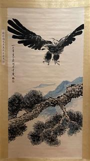 Sale 8951S - Lot 15 - Chinese Scroll of an Eagle in Flight, Ink and Colour on Paper