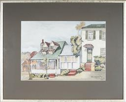 Sale 9091 - Lot 2018 - Cedric Emanuel (1906 - 1995) Old Watsons Bay, 1989 watercolour, frame: 75 x 61cm, signed and dated -