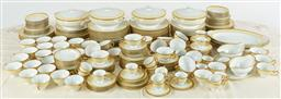 Sale 9099 - Lot 166 - A two hundred and twenty-four [224) piece Japanese Okura porcelain dinner service with gilt decoration on a primrose and white...