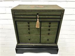 Sale 9097 - Lot 1002 - Painted Chinoiserie Style Specimen or Jewellery Chest, painted green & black with flowers to top, having thirteen drawers (h47 x w43...