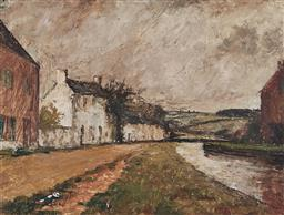 Sale 9161 - Lot 506 - GEORGE FEATHER LAWRENCE (1901 - 1981) Cotswold Village, 1951 oil on pulp board 29.5 x 39 cm (frame: 43 x 52 x 4 cm) signed and dated...