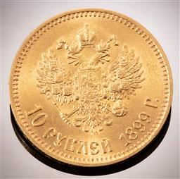 Sale 9153C - Lot 330 - 10 ROUBLES RUSSIAN GOLD COIN; 1899 Nicholas II, size 22.61mm, 22ct gold, wt. 8.59g.