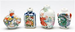 Sale 9253 - Lot 266 - A set of four Chinese ceramic snuff bottles, missing stoppers (H:7cm)