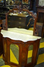 Sale 8093 - Lot 1802 - Victorian Mirror Back Walnut Credenza w Marquetry Inlay Marble Top (key in office)