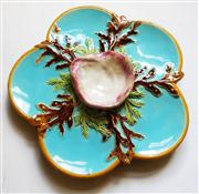 Sale 8272A - Lot 42 - An antique George Jones majolica oyster plate. Some edge / rim chips Size 19 cm wide