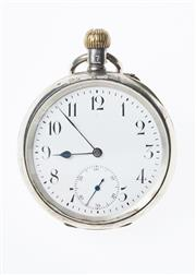 Sale 8293 - Lot 315 - A SWISS 935 SILVER OPEN FACE POCKET WATCH; white dial with Arabic numerals, subsidiary seconds dial stem wind, push piece 1 oclock...