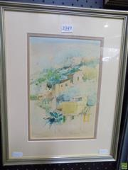 Sale 8561 - Lot 2032 - Helen Goldsmith - Terraces Mallorca 26 x 17.5cm