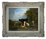 Sale 8660A - Lot 59 - Andres Cortes (1812 - 1879) Spanish / French - Herding Cattle 40 x 54 cm