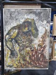 Sale 8682 - Lot 2051 - Maryn Haswell - Destruction of Man, 1966, oil on canvas, 102 x 76cm (frame size), signed lower left; inscribed verso