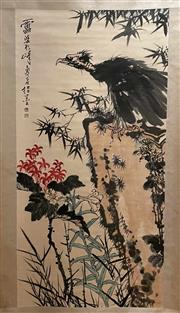 Sale 8951S - Lot 16 - Chinese Scroll of an Eagle on a Rock, Ink and Colour on Paper