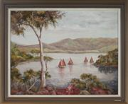 Sale 8973 - Lot 2057 - Evelyn Duggan, Sailing At The River Mouth, oil on board, 48 x 58 x 3 (frame), signed lower right