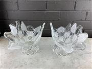 Sale 9039 - Lot 1053 - Pair of Mid Century Frosted Glass Centrepieces, possibly Czechoslovakian (:33cm)