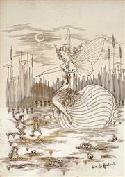 Sale 9047A - Lot 5086 - Ida Rentoul Outhwaite (1888 - 1960) - Fairy and Lilyponds & Dancing Frogs 24 x 17.5 cm (frame: 39 x 30 x 2 cm)