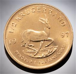 Sale 9153C - Lot 325 - SOUTH AFRICAN 1997 HALF KRUGERAND GOLD COIN; size 27.16mm, 22ct gold, wt. 16.95g.