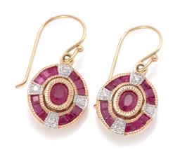 Sale 9168J - Lot 388 - A PAIR OF 9CT GOLD RUBY AND DIAMOND DECO STYLE EARRINGS; each centering an oval cut ruby to surround of round brilliant cut diamonds...