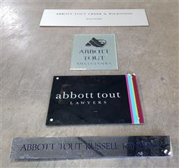 Sale 9215 - Lot 1480 - Collection of Abbott & Tout lawyers signage from various years (L119cm)