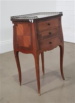 Sale 9255 - Lot 1080 - French inlayed 3 drawer bedside with marble top (brass gallery slightly bent (73 x w:432 x d:30cm)
