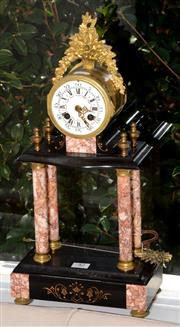 Sale 8098A - Lot 42 - A C19th French Marble and Slate Portico Sunburst Clock by Japy Freres with pendulum and keys.