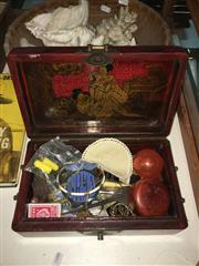 Sale 8659 - Lot 2323 - Oriental Red Lacquered Box with Contents incl NRMA Badge