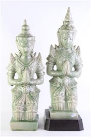 Sale 8835 - Lot 42 - Pair of Celadon Crackle Glazed Thai Figures on Stands (some repairs), H61cm including stand
