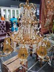 Sale 8843 - Lot 1030 - Pair of Brass and Glass Elaborate Chandeliers