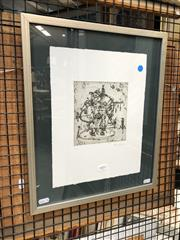 Sale 8856 - Lot 2052 - French School  Circus 2001etching and aquatint, 45 x 37cm (frame), signed/dated