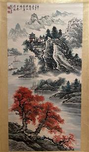 Sale 8951S - Lot 17 - Chinese Landscape Scroll, Ink and Colour on Paper