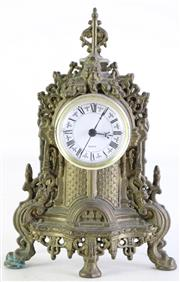 Sale 8985 - Lot 86 - A Small Metal Mantle Clock