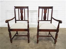 Sale 9188 - Lot 1262 - Pair of timber framed armchairs with cushion inserts (h:100 w:56 d:60cm)