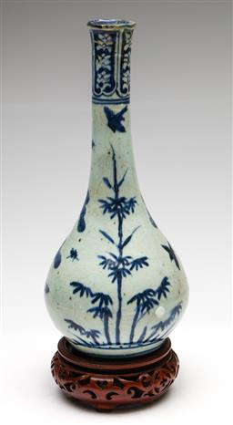 Sale 9238 - Lot 35 - A Chinese blue and white ceramic vase on timber base (H:29.5cm) - no marks to base