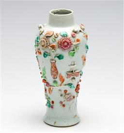 Sale 9253 - Lot 382 - C18th Chinese vase with relief decoration (heavy repairs/faults) (H:21cm)